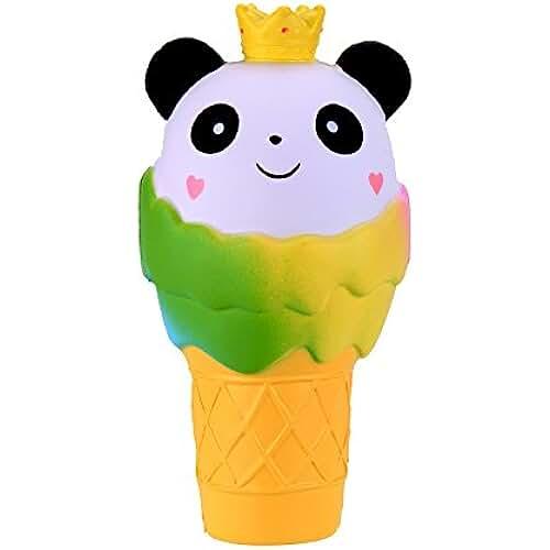 juguetes kawaii VLAMPO Squishy Stress Toys Squishies Soft Slow Rising Jumbo Panda helado 7.5 (amarillo)