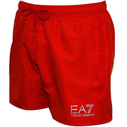Emporio Armani EA7 Men's Swim Shorts, Red/Silver