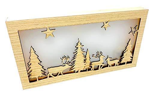 LED Bild Weihnachten - Wald Rentier Sterne - Laser gesägt - IG19509 Weihnachtsdeko Liebe Dekolicht Holz