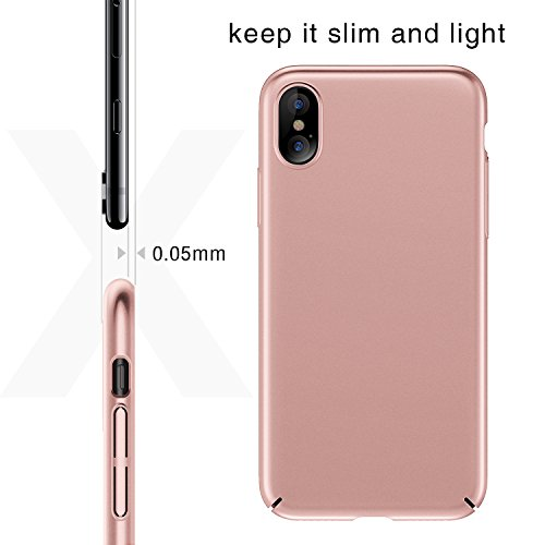Coque iPhone X, TORRAS Ultra Fine Case, Anti-Rayures Mince Protection Cover pour Apple iPhone X (2017) - Noir Or Rose