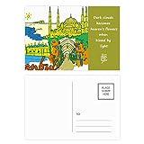 DIYthinker Türkei Istanbul Top Carboplatin Aquarell Poetry Postkartenset dankt Karte Mailing Side 20pcs 5.7 Zoll x 3.8 Zoll Mehrfarbig
