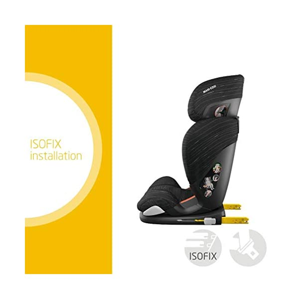 Maxi Cosi RodiFix AirProtect Child Car Seat, ISOFIX Booster Seat, Extra Protection, 3.5-12 Years, 15-36 kg, Scribble Black Maxi-Cosi Booster car seat for children from 15 to 36 kg (3.5 to 12 years) Grows along with your child thanks to the easy headrest and backrest adjustment from the top Patented AirProtect technology for extra protection of child's head 2