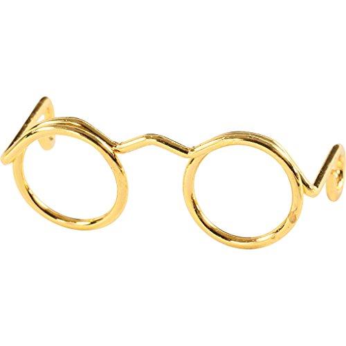Neuheit Brille, W: 25 mm, Innengröße 9 mm, Gold, 10 Stück