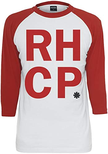 Red Hot Chili Peppers Stacked Logo Langarmshirt weiß/rot L (Red Hot Chili Peppers-logo)