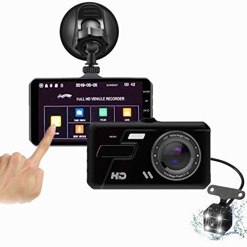 RZJ-Dash Cam Fahraufnahme Doppellinse 4 Zoll Touchscreen Recorder 1080P HD Nachtsicht Auto DVR -