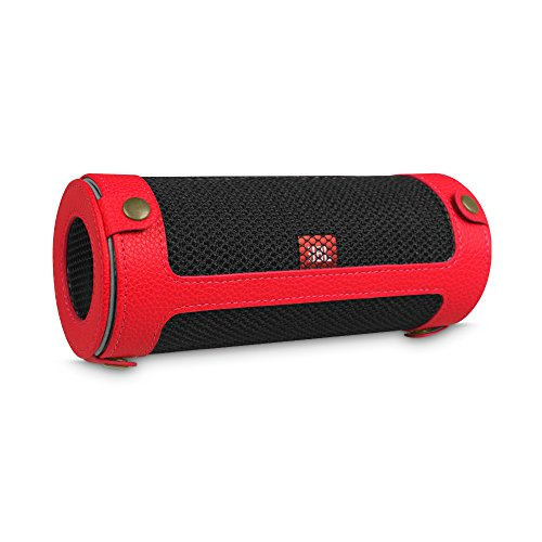 Price comparison product image Fintie JBL Flip 4 Case - Premium Vegan Leather Carrying Sleeve Protective Cover with Removable Carabiner Keychain Clip for JBL Flip4 Waterproof Portable Bluetooth Speaker,  Red