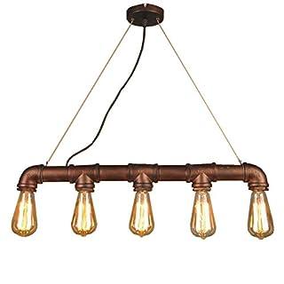 HWAMART™ (HL427) five head Edison E27 copper pipe industrial steampunk pendant vintage rustic ceiling light lamp