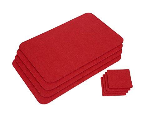 GRÄWE Platzmatten Tischmatten Platzsets Tischsets Tischunterlagen 4 Stück - rot