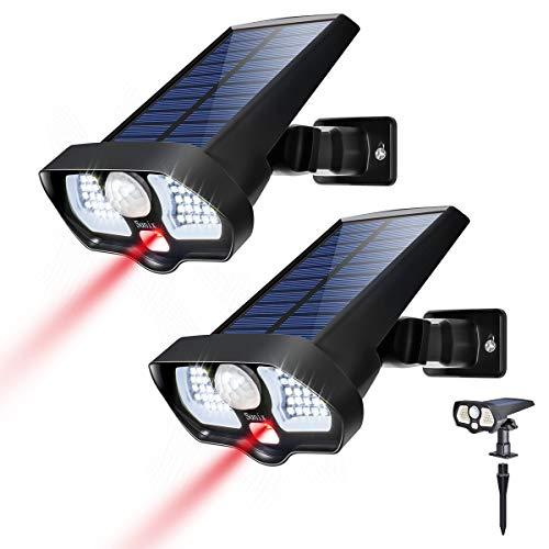 Sunix Luz Solar Exterior, 180º Gran Angular y Sensor de Movimiento de 42 Leds y 2 led Rojo, 2200mAH IP65 Seguridad Luces Solares Impermeables con Inducción del Cuerpo Humano (2 Paquetes)