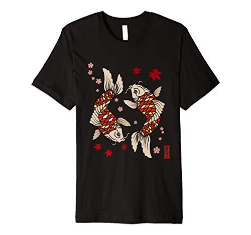 Koi Karpfen japanisches Gold Fischen Sakura Zen Yoga Tshirt