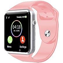 Reloj Inteligente Kivors con Bluetooth y Ranura para Tarjeta SIM para Usar Como Teléfono Móvil. Reloj Deportivo con Rastreador de Actividad, Podómetro Inteligente, Compatible con Android/iOS , Rosa