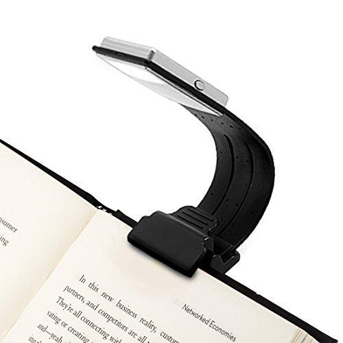 Opard Clip Light USB-Aufladbare Lampe Augenpflege Doppelt als Lesezeichen flexibel mit 4 Stufen dimmbar für Buch ebook Lesen im Bett, Kindle, iPad (Schwarz), 1 Stück