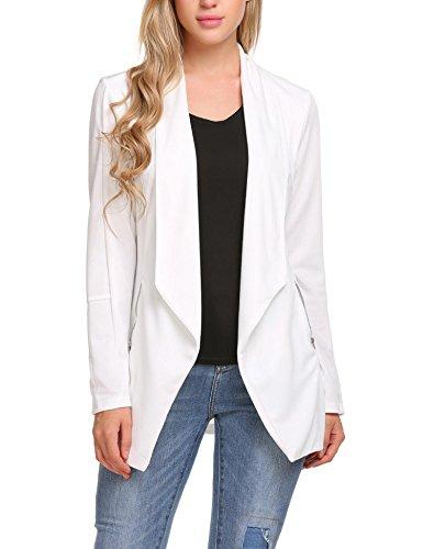 L'AMORE Damen Blazer Tailliert mit Reverskragen Jacke Anzugjacke Langarm Elegant Casual Business Büro