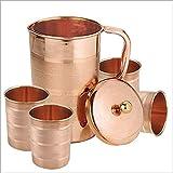 Zap Impex ® Indische reines kupfer krug mit 4 becher glas gesetzt für gute Gesundheit heilung, kapazität 1,6 liter