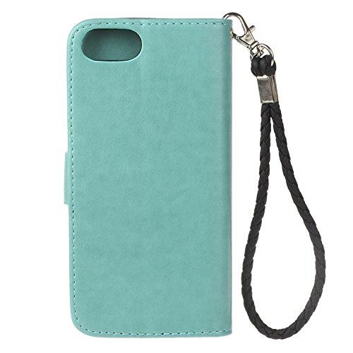 iphone7 (4.7 Zoll) Wallet Case für Apple iPhone 7 Flip Hülle Laoke Eule Blumen Muster Handyhülle Schutzhülle PU Leder Case Skin Brieftasche Ledertasche Tasche im Bookstyle in +Staubstecker (5) 8