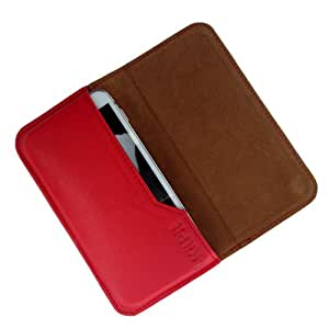 i-KitPit : Genuine Leather Flip Pouch Case Cover For Intex Aqua i15 (RED)