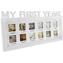Marco de fotos bebé mi Premiere año cumpleaños con 12fotos de mesa o para colgar conjunto de marco de madera (crecimiento recuerdos precioso regalo para nacimiento recién nacido Navidad bautizo