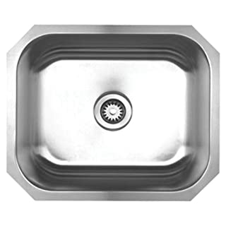 Whitehaus Collection Alfi Trade WHNU2016 22.25 in. Noahs Collection single bowl undermount sink- Brushed Stainless Steel