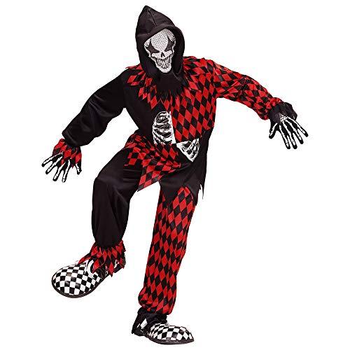 Widmann 08747 Kinderkostüm böser Hofnarr, Jungen, Schwarz/Rot, 140 cm (Böser Clown Kostüm Zubehör)
