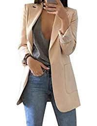 Mujer Manga Larga Blazer, Moda Color Sólido Slim Traje Chaqueta con Bolsillos Mujeres Casual OL