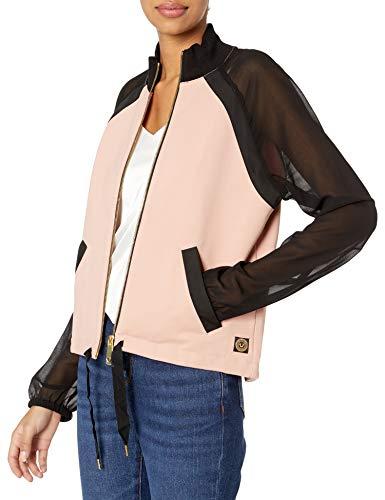 True Religion Damen Sheer Sleeve Track Jacket Jacke zum Aufwärmen, Schwarz/Blush, X-Klein
