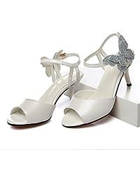 Zapatos de verano/Tacones de aguja/ las mujeres sandalias de peces/Rhinestone blanco zapatos de boda arco/ zapatos de fiesta de las mujeres