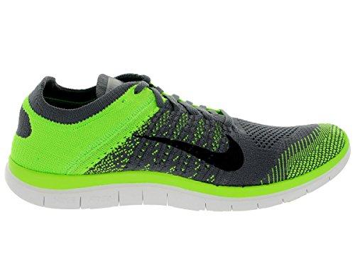 Nike Free 4.0 Flyknit, Chaussures de Running Entrainement Homme Dark Grey / Black / Electrc Green