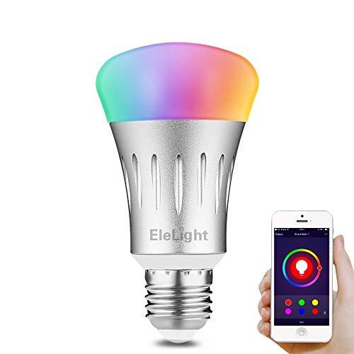 EleLight Inteligente LED Bombilla Inalámbrica 7W 570LM, Multifuncional Wi-Fi Regulable Bombillas de Luz Cambio de Color RGBW Lámpara de Trabajo con Alexa para iOS/Android App Remote Control