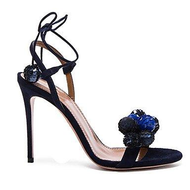 LFNLYX Damen Sandalen Frühling Sommer Herbst Club Schuhe Fleece Hochzeit Party & Abendkleid Stiletto Heel Pailletten pom-pom Blau Weiß Blue