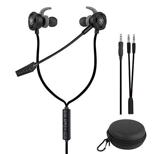 Samoleus In Ears Kopfhörer mit Verstellbarem Mic, 3.5MM Wired Earbuds Gaming Earphones Ohrhörer mit 3 Pairs Different Sizes Earbuds für PS4, Xbox, PC, Laptop, Mobile Phone (Schwarz - In Ear)