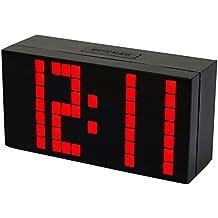 LambTown Jumbo LED Reloj de Pared Digital con Alarmas Calendario Termómetro Luminoso Para la Cocina Junto a la Cama - Rojo