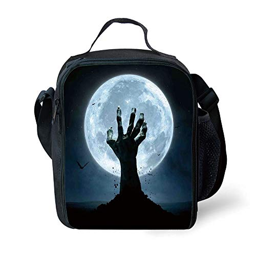 MLNHY School Supplies Halloween Decorations,Zombie Earth Soil Full Moon Bat Horror Story October Twilight Themed,Blue Black for Girls or Boys Washable