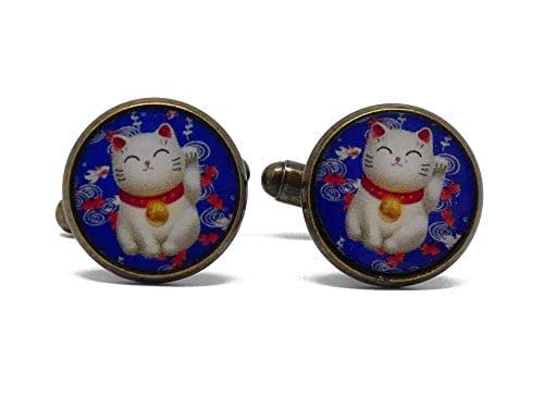 2 Gemelli da polso costume resina gatto cinese portafortuna blu rosso bianco personalizzato regali Natale cerimonia nozze amici papà compleanno ospiti padrone giorno del padre