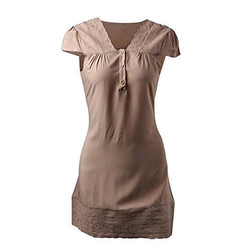 Elegante Robe Mini Femme Manches Courtes Col V Dentelle Floral Coton Sans Ceinture Casual - Koobea Kaki