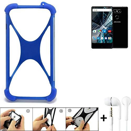 K-S-Trade Bumper für Archos Sense 55 S Schutzhülle Handyhülle Silikon Schutz Hülle Cover Case Silikoncase Silikonbumper TPU Softcase Smartphone, Blau (1x), Headphones