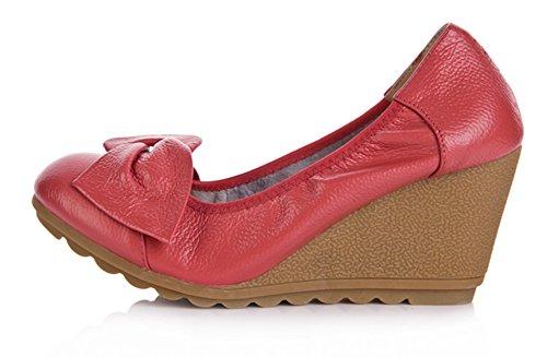 Wealsex damen keilabsatz pumps Rot
