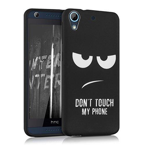 kwmobile Funda para HTC Desire 626G - Carcasa de [TPU] para móvil y diseño Don't Touch my Phone en [Blanco Negro]