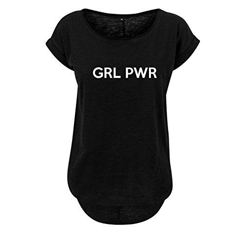 GRL PWR t-Shirt lang Oversize Damen kurzarm Top Women lässig Sommer schwarz weiß (379-B36-Schwarz-S) (Nike-dance-jersey)