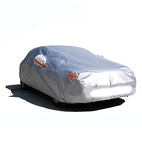 DOSNVG Universal Car Cover Full Sedan Cover - Kratzfest Outdoor All Weather Protection Limousinenabdeckung - Wasserdicht Regen Schneebeständige Autoabdeckung - Silber, L