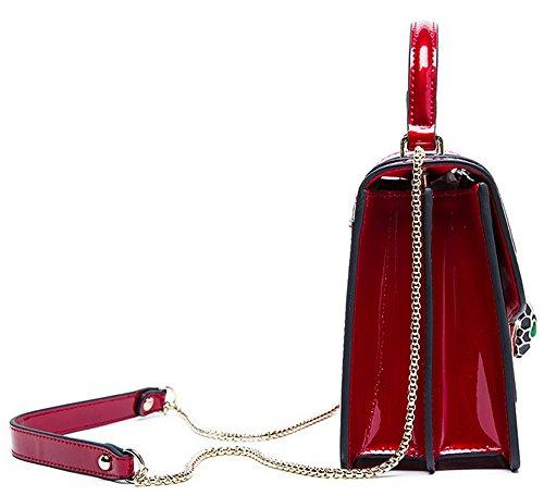 Sacs à main pour femme Xinmaoyuan Motif serpent en cuir de couleur solide sac épaule Sac à main de dames de mode Red
