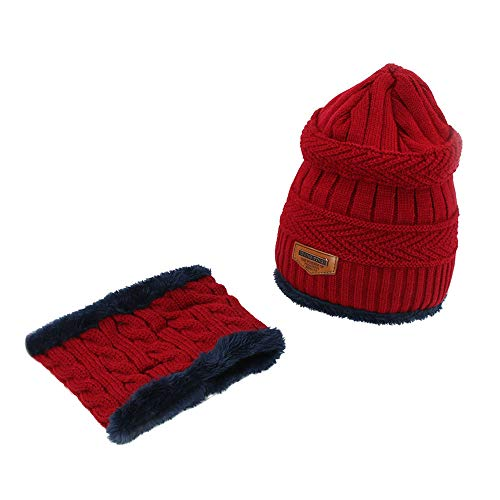 ALIKEEY 2Pcs Hombres Mujeres Invierno Caliente Tejida Beanie Hat + Bufanda Mantener Caliente Conjunto Talla Luffy Boinas Peaky Blinders Francesa Kangol Vasca