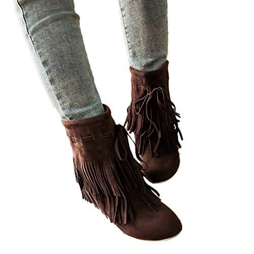TianWlio Frauen Herbst Winter Stiefel Schuhe Stiefeletten Boots Lässige Warme Schuhe Gürtelschnalle Stiefeletten Kurze Plüsch Retro Kurze Stiefel Braun 41