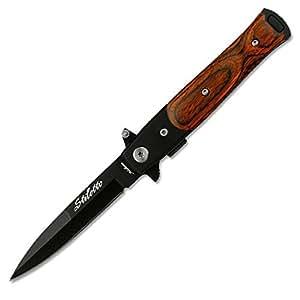 Tac Force - Couteau Milano Stiletto Bois Ouverture Rapide assistée - Pakkawood- # SE-438WB