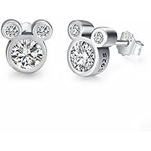 """Twenty Plus® Pendientes de Mujer Deslumbrantes Diseños de Mickey Mouse del """"Mundo Disney"""" con Cristales Brillantes Blancos, Para Mujeres y Niñas Fashion, 1 Par"""
