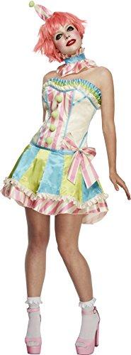 Fever, Damen Vintage Clown Kostüm, Korsett, Rock mit Unterrock, Kragen und Mini Hut, Größe: L, 45367