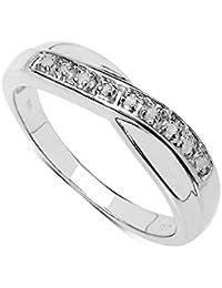 La Colección Anillo Diamantes: Anillo de Eternidad y set de Diamantes 0.04Ct genuinos en plata de ley, Perfecto para Regalo, Aniversario, compromiso, Tallas 6,8,9,10,11,12,13,15,16,17,19,20,21,22,24