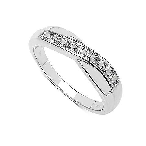 La Collection Bague Diamants : Bague Argent et le set en Diamants 0.04Ct authentiques, pour le Cadeau,Eternite Anniversaire Fiançailles. Taille de la Bague 48