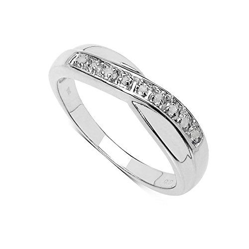 La Collection Bague Diamants : Bague Argent et le set en Diamants 0.04Ct authentiques, pour le Cadeau,Eternite Anniversaire Fiançailles Taille de la Bague 57