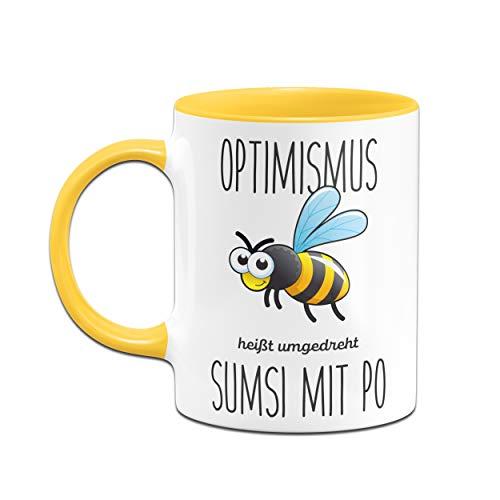 Tassenbrennerei Bienen Tasse mit Spruch Optimismus heißt umgedreht Sumsi mit Po lustige Bürotasse Sprüche Tassen lustig - gelb - 2