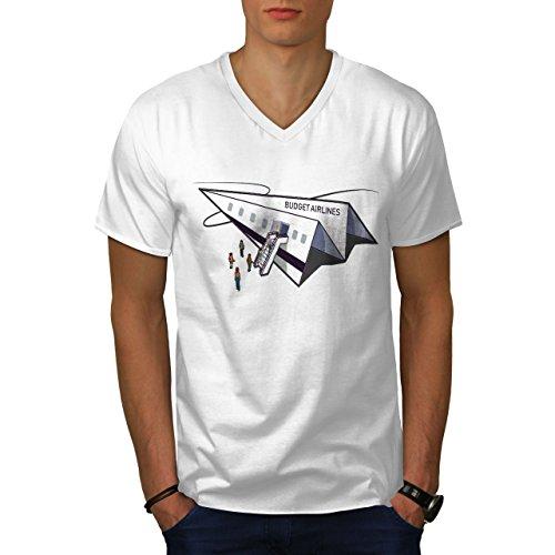 wellcoda Budget Fluggesellschaft MännerV-Ausschnitt T-Shirt Papier Ebene Grafikdesign-T-Stück - Fluggesellschaften, Weißes T-shirt